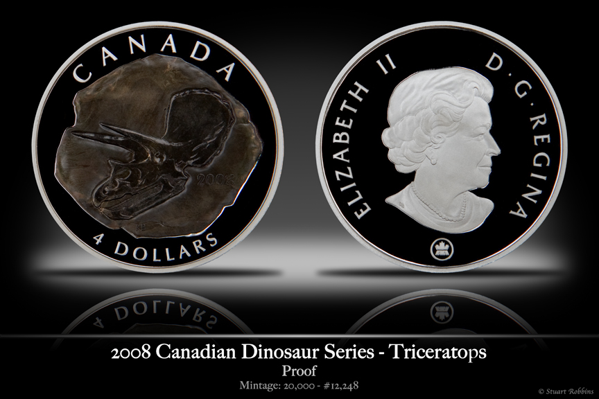 2008 Canadian Triceratops 'Fossil' Coin