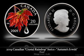 2009 Canadian Maple Leaf Crystal Coin 'Autumn's Jewels'