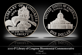 2000-P Library of Congress Silver Proof Commemorative Coin