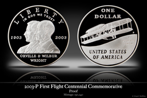 2003-P Wright Brother's First Flight Silver Proof Commemorative Coin