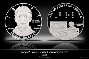 2009-P Louis Braille Silver Proof Commemorative Coin
