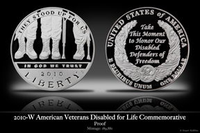 2010 American Veterans Disabled for Life Silver Proof Commemorative Coin